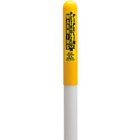 "TAPCO® 113778C Round Dome Utility Gas Marker, White Pole 66""H, 42"" Above Ground, Yellow"