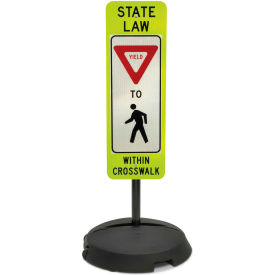 """Tapco® Sign with Wheeled Sign Base, R1-6, State Law Yield to Pedestrians, 12""""W x 36""""H"""