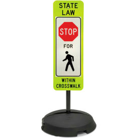 """Tapco® Sign with Wheeled Sign Base, R1-6A, State Law Stop for Pedestrians, 12""""W x 36""""H"""