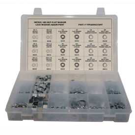 630 Piece Metric Hex Nut & Washer Assortment M4 to M12 Steel Zinc by