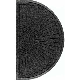 "WaterHog Eco Grand Elite 3/8"" Thick Half Oval Entrance Mat, Black Smoke 4' x 2'3"""