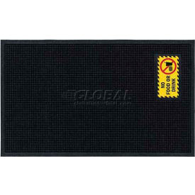 "Waterhog™ Fashion Mat, No Food or Drink, Horizontal Charcoal Border, 58""x35""x3/4"""