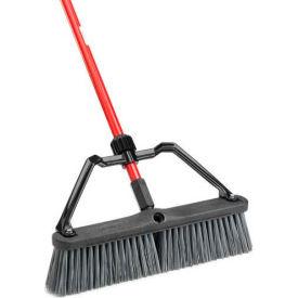 Libman Commercial Push Broom W/ Hard Polymer Support Brace - 18 - Heavy-Duty Bristles - Pkg Qty 4