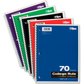 """TOPS® Wirebound 1-Subject Notebook 65021, College, 8"""" x 10-1/2"""", 70 Sheets/Pad"""