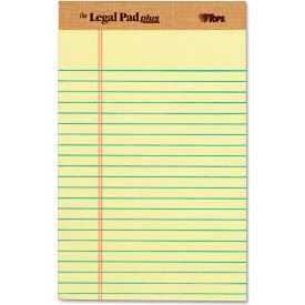 """TOPS® The Legal Pad Plus Rule Perforated Pads 71501, 5"""" x 8"""", Canary, 50 Sheets/Pad, 12/Pack"""