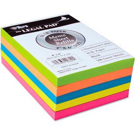 """TOPS® Assorted Fluorescent Color Memo Shts 99622, 4"""" x 6"""", Asst, 500 Sheets/Pad"""