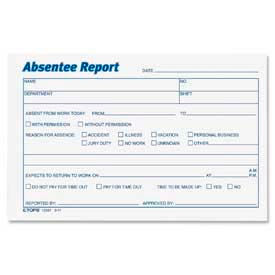 "Tops® Absentee Report Forms, 6"" x 4"", White, 100 Sheets/Pad, 2 Pads/Pack"
