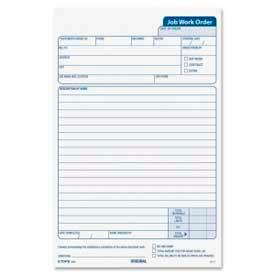 """Tops® Job Work Order Form, 3-Part, Carbonless, 5-1/2"""" x 8-1/2"""", 50 Sets/Pack"""