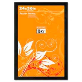"Dax® Poster Frame, Wall Mountable, Horizontal/Vertical, 24"" x 36"", Wood, Black"