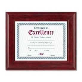 "Dax® Executive Document Frame, Desktop/Wall Mountable, 11"" x 8-1/2"", Wood, Mahogany"