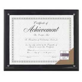 """Dax Award Plaque, Wall Mountable, Horizontal/Vertical, 11"""" x 8-1/2"""", Wood, Black by"""