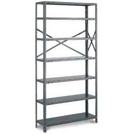 "Tri-Boro Klip-It Open Add-On, OAK85-1236-6X, 36""W x 12""D x 85""H, 6 Shelves, 18 Ga, Dark Gray"