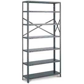 "Tri-Boro Klip-It Open Add-On, OAK97-1836-7X, 36""W x 18""D x 97""H, 7 Shelves, 18 Ga, Dark Gray"
