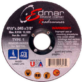 "Edmar Abrasive Company 05857 Cut-Off Wheel T1 4-1/2"" x .045"" x..."