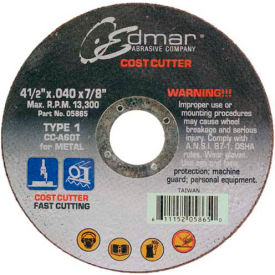 "Edmar Abrasive Company 05865 Cut-Off Wheel T1 4-1/2"" x .040"" x 7/8"" 60 Grit Diamond Grain - Pkg Qty 50"
