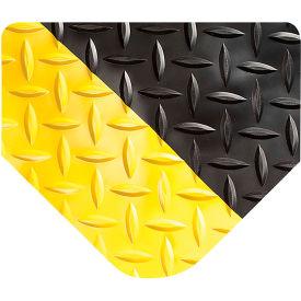 "Wearwell 414 Diamond Plate Diamond Plate Ergonomic Mat 24"" X 3' X 15/16"" Black/Yellow"
