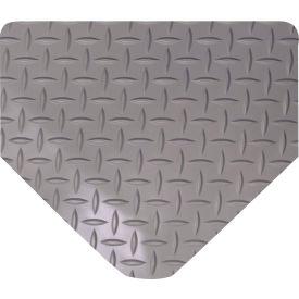 "Wearwell 415 Diamond Plate Diamond Plate Ergonomic Mat 36"" X 10' X 9/16"" Gray"
