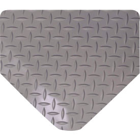 "Wearwell 415 Diamond Plate Diamond Plate Ergonomic Mat 36"" X 75' X 9/16"" Gray"