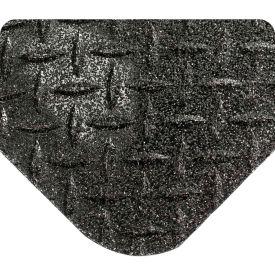 "Wearwell 416 Diamond Plate Diamond Plate Ergonomic Mat 48"" X 75' X 15/16"" Black"