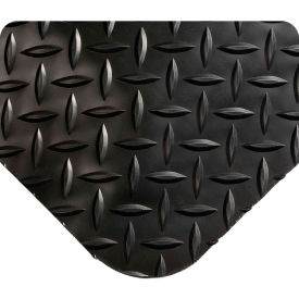 "Wearwell 495 Diamond Plate Diamond Plate Ergonomic Mat 48"" X 75' X 9/16"" Black"