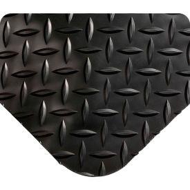 "Wearwell 497 Diamond Plate Diamond Plate Ergonomic Mat 24"" X 3' X 1"" Black"