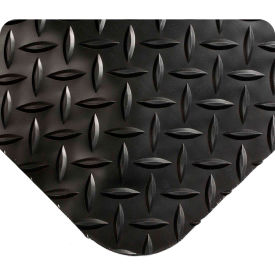 "Wearwell 497 Diamond Plate Diamond Plate Ergonomic Mat 36"" X 5' X 1"" Black"