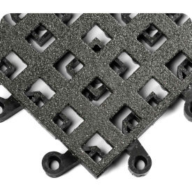 "Wearwell 561 ErgoDeck Heavy Duty Open Grid with Grit Shield 18""X18"" Black"