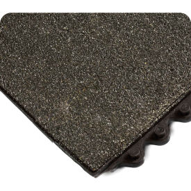 "Wearwell 574 24/Seven Anti-Fatigue Matting Solid w/Grit Shield Nitrile Rubber 36""X36"" Black"