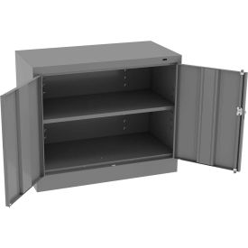 "Tennsco Standard KD Desk Height Storage Cabinet 36""W x 18""D x 30""H Medium Grey"