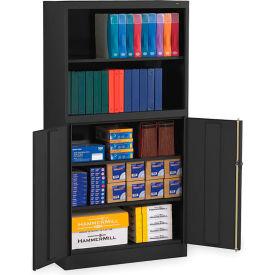 "Tennsco Bookcase Storage Cabinet BCD18-72-BLK - Welded 36""W x 18""D x 72""H Black"