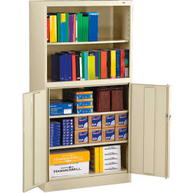 """Tennsco Bookcase Storage Cabinet BCD18-72-CPY - Welded 36""""W x 18""""D x 72""""H Champagne Putty"""
