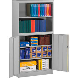"""Tennsco Bookcase Storage Cabinet BCD18-72 53-LGY - Welded 36""""W x 18""""D x 72""""H Light Gray"""
