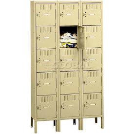 Tennsco Box Locker BS5-121212-3 02 - Five Tier w/Legs 3 Wide 12 x 12 x 12, Assembled, Medium Grey