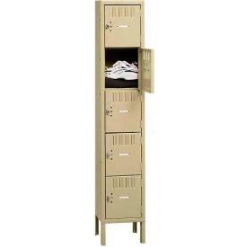 Tennsco Box Locker BS5-121812-1-MGY - Five Tier w/Legs 1 Wide 12 x 18 x 12, Assembled, Medium Grey