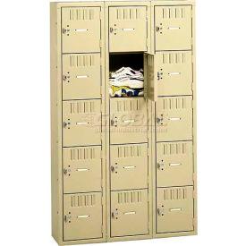 Tennsco Box Locker BS5-121812-C 053 - Five Tier No Legs 3 Wide 12 x 18 x 12, Assembled, Light Grey