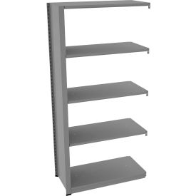 "Tennsco Capstone Boltless Shelving, Add-On Unit, 36""W x 18""D x 76""H, 5 Shelves, Medium Grey"