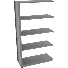 "Tennsco Capstone Boltless Shelving, Add-On Unit, 42""W x 18""D x 76""H, 5 Shelves, Medium Grey"