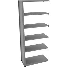 "Tennsco Capstone Boltless Shelving, Add-On Unit, 36""W x 18""D x 88""H, 6 Shelves, Medium Grey"