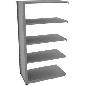 "Tennsco Capstone Boltless Shelving, Add-On Unit, 42""W x 24""D x 76""H, 5 Shelves, Medium Grey"