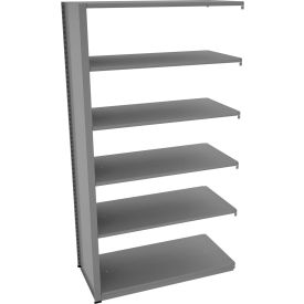 "Tennsco Capstone Boltless Shelving, Add-On Unit, 48""W x 24""D x 88""H, 6 Shelves, Medium Grey"