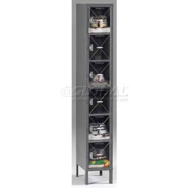 Tennsco C-Thru Box Locker CBL6-121212-1-LGY - Six Tier w/Legs 1 Wide 12x12x12, Assembled, Light Grey