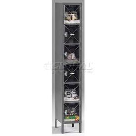 Tennsco C-Thru Box Locker CBL6-121212-1 216 - Six Tier w/Legs 1 Wide 12x12x12, Assembled, Putty