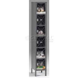 Tennsco C-Thru Box Locker CBL6-121812-1-MGY - Six Tier w/Legs 1 Wide 12x18x12, Assembled, Med. Grey