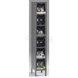 Tennsco C-Thru Box Locker CBL6-121812-1 03 - Six Tier w/Legs 1 Wide 12x18x12, Assembled, Black