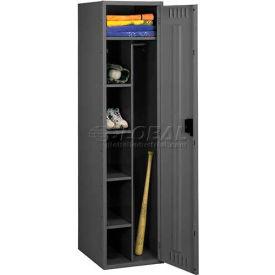 """Tennsco Combination Locker CMS-182172-A 03 - No Legs 1 Wide18""""W X 21""""D X 72""""H, Assembled, Black"""