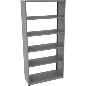 "Tennsco Capstone Boltless Shelving, Starter Unit, 42""W x 18""D x 88""H, 6 Shelves, Medium Grey"