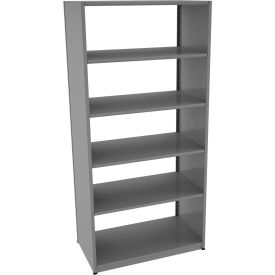 "Tennsco Capstone Boltless Shelving, Starter Unit, 42""W x 24""D x 88""H, 6 Shelves, Medium Grey"