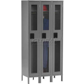 Tennsco C-Thru Locker CSL-121272-3 053 - Single Tier w/Legs 3 Wide, 12x12x72, Assembled, Light Grey