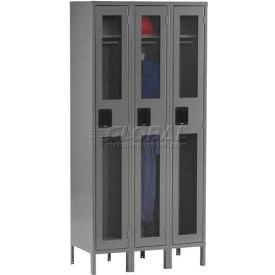 Tennsco C-Thru Locker CSL-121272-3 216 - Single Tier w/Legs 3 Wide, 12x12x72, Assembled, Putty