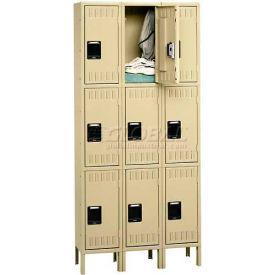 Tennsco Steel Locker TTK-121524-3-SND - Triple Tier w/Legs 3 Wide 12x15x24, Unassembled, Sand